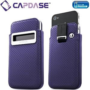 CAPDASE 日本正規品 iPhone 4S / 4 スマートポケット レザーケース コールID Dot, パープル/ブラック SLIH4-S951