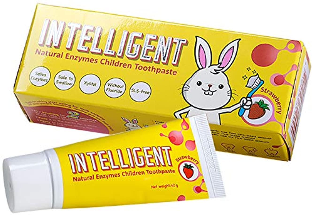 シプリー仲間インテリジェント唾液の自浄酵素入り子供用歯磨き粉40g【フッ素無し、泡立ちなし、うがい不要、辛くない】【低刺激 こども用ハミガキ粉、低研磨 子ども用はみがき粉】【イチゴ, 1個】