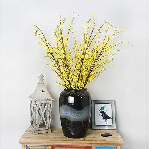 GAIGAI造花、部屋のためのプラスチック偽の絹の黄色の月見草ブライダルブーケ、家の装飾、キッチン、庭、結婚式、パーティーの装飾6個