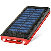 RUIPU モバイルバッテリー ソーラーチャージャー 大容量 24000mAh 急速充電可能 3USB出力ポートと入力搭載 三台同時充電でき 太陽光で充電可能 Android/Apple/iPad対応 地震/災害/旅行/出張/アウトドア活動などの必携品(red)
