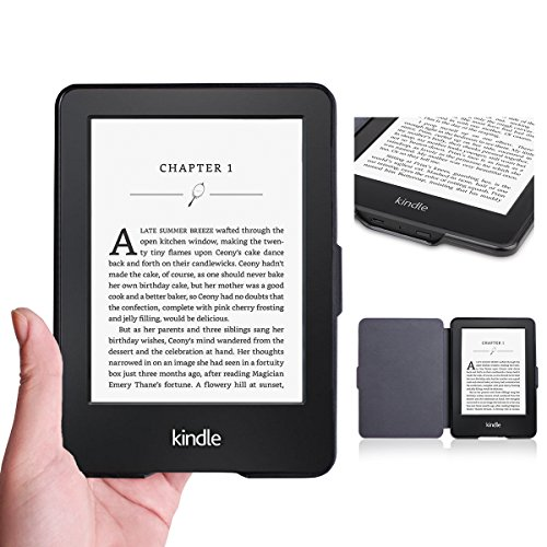 WALNEW Amazon Kindle Paperwhiteカバー キンドルペーパーホワイト専用ケース 月食の絵 素材クリア 最も薄く、最軽量の保護 レザーケース マグネット機能搭載, 月食