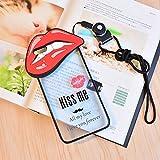 スマホケース スマホカバー iPhoneケース でかケース 唇 リップ 赤リップ スケルトン 英語 ロゴ REip6