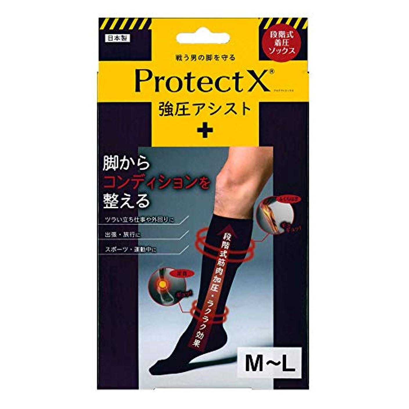 変成器ピービッシュマディソンProtect X(プロテクトエックス) 強圧アシスト つま先あり着圧ソックス 膝下 M-Lサイズ ブラック