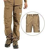 (ヒラロキ) Hilarocky メンズ トレッキングパンツ タクティカルパンツ 吸汗速乾パンツ ショートパンツ ロングパンツ コンバーチブルパンツ 2WAY 春夏 カーキ M