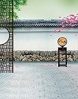 A Monamour 1.5X 2.1mコンピュータ印刷Chinoiserie中国スタイルPaintingアーキテクチャテーマ壁壁画写真の背景幕ファブリックビニールStudio小道具