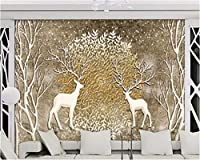 Weaeo カスタム壁紙リリーフヴィンテージノスタルジックなエルクの森の背景の壁画リビングルームのベッドルームのテレビの背景の3D壁紙-280X200Cm