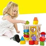 BINGONE 筒入り積み木 立体パズル カラー 木製 木のおもちゃ 想像力を育てる 幾何認識 ベビー教育玩具 知育教材