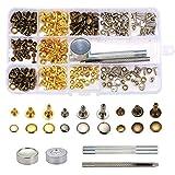KING DO WAY 135組 レザークラフト ボタン 打ち具セット レザークラフト DIY 布革細工 バッグ ベルト 丸形 3サイズ 3種類 穴あけ カシメセット 収納ケース付き