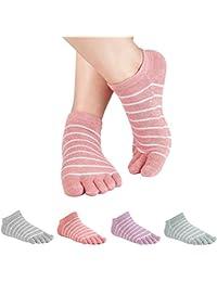 レディースつま先ソックスコットンLightweight No Show 5本の指Running Socks 3 Pack