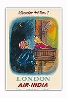 イギリス ロンドン - あなたはどこにいますか? - マハラジャロメオ - エア?インディア - ビンテージな航空会社のポスター c.1950s - アートポスター - 33cm x 48cm