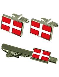 マルタの国旗カフスボタンタイクリップマッチングボックスギフトセットの主権軍順序