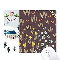 茶色の葉・花・植物塗料 サンタクロース家屋ゴムのマウスパッド