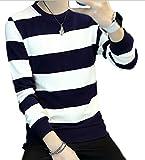 hipa hipa 長袖 Tシャツ ロンT ボーダー カットソー シャツ 白黒 モノトーン 黒 紺 しましま(ネイビー/XLサイズ)