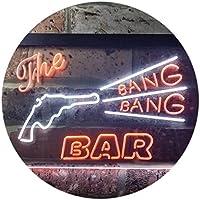 The Bang Bang Bar Gun Dual LED看板 ネオンプレート サイン 標識 White & Orange 400 x 300 mm st6s43-i3347-wo