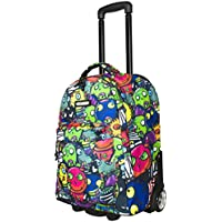 "Bonne ('Bone') Travel Trolley Bag Rolling Wheeled Luggage Travel Cart Soft Suitcase -""Evil Friends"""