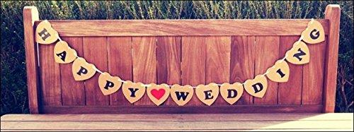 フォトプロップスハートプレート(JUST MARRIED)/(HAPPY WEDING)BROWN 結婚式・二次会・誕生日会写真小道具ガーランド (HAPPY WEDDING)