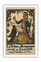 ブルゴーニュワイン、フランス - ワインメーカーHenri deBah?zre - ビンテージな広告ポスター によって作成された ガイ・アルヌー c.1916 - プレミアム290gsmジークレーアートプリント - 61cm x 91cm