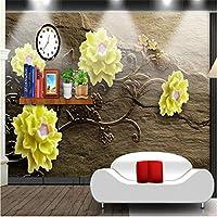 Weaeo 3D写真の背景の写真黄色の花エンボス茶色の部屋のベッドルーム紙の壁画の3D-280X200Cm