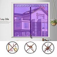 BMY シルクロードアンチモスキートバグカーテン、ジッパーメッシュカーテン夏寝室キッチン窓スクリーン - パープルA 180×200センチ(71×79インチ)