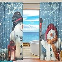 XiangHeFu シアーカーテン チュール 冬 クリスマス 雪だるま ボイルウィンドウカーテン 寝室用 幅55x長さ78インチ パネル2枚 55x78x2(in) XR-3