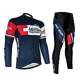 Mersteyo サイクルジャージ 半袖 長袖 選択可能 上下セット 反射 サイクリングジャージ MST1342-XL