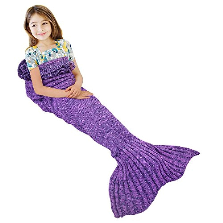 [Ylovetoys]Ylovetoys Warm Soft Mermaid Tail Crochet Blanket for Kids, Purple Ruffle Style, 55x28 [並行輸入品]