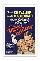 The Merry Widow - 主演 Maurice Chevalier, Jeanette MacDonald - Ernst Lubitsch監督 - ビンテージなフィルム映画のポスター c.1934 - アートポスター - 31cm x 46cm
