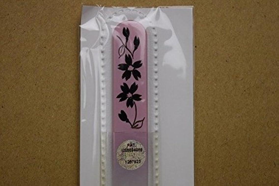 みがきますミケランジェロ好奇心【ブラジェク】ガラス爪やすり ハンドペインティング (#503P) 黒色の花(本体が、一部ピンク色)