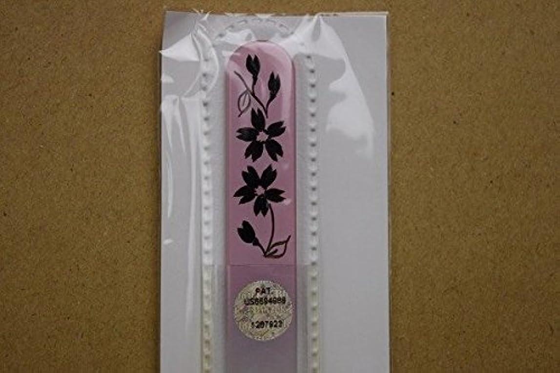 少なくとも精神電極【ブラジェク】ガラス爪やすり ハンドペインティング (#503P) 黒色の花(本体が、一部ピンク色)