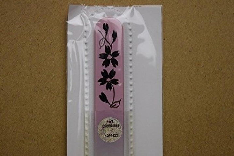 約束する生じる症候群【ブラジェク】ガラス爪やすり ハンドペインティング (#503P) 黒色の花(本体が、一部ピンク色)
