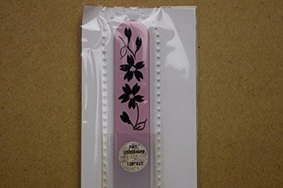 前部再現するマイコン【ブラジェク】ガラス爪やすり ハンドペインティング (#503P) 黒色の花(本体が、一部ピンク色)