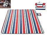 M0N0liTH 厚手 大判 防水 レジャーシート 軽量 折り畳み アウトドア キャンプ 海水浴 ピクニック ( 多機能カード型マルチツール セット ) ([ ストライプ ] レッド × ブルー)