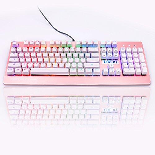 Luxon ゲーミングキーボード メカニカル式 黒軸 USB有線キーボード 104キー 高速反応 バラ色 女性用