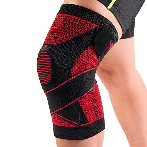 Kuangmi(カウアミ)膝サポーター 膝固定 関節靭帯保護 半月板損傷回復に 運動用 バレー ウォーキング 登山 バスケット ジムトレー 弾性ストラップ固定 シリコンパッド付き 一枚入り (XX-Large(一枚入り))