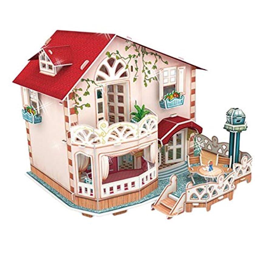 フランクワースリーキャンパス減少4色 Diy人形ハウスキット 木製家具 ledライト ミニチュア ハウス 模型 - 別荘