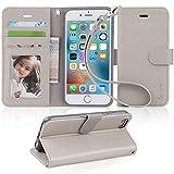 iPhone6s ケース 手帳型 iPhone6 ケース Arae スマホケース ストラップ 横置き機能 カードポケット付き アイフォン6 アイフォン6s 用 財布型 ケース カバー(グレー)