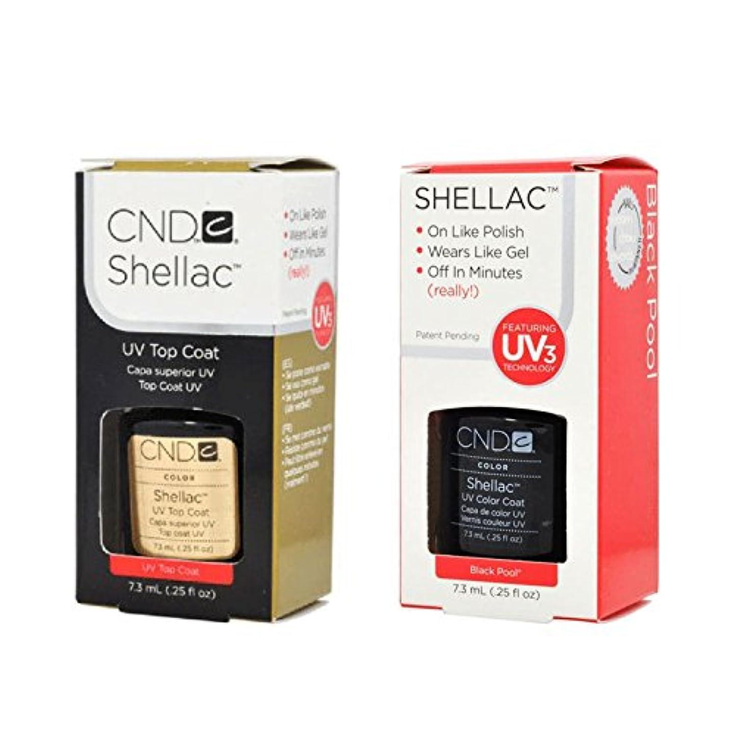 強盗救援かき混ぜるCND Shellac UVトップコート 7.3m l  &  UV カラーコー< Black Pool>7.3ml [海外直送品]