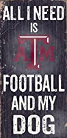 Texas A&M Aggies 6インチ x 12インチ 「All I Need is Football and My Dog Wood」サイン入り