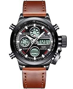 [メガリス]MEGALITH 腕時計 メンズスポーツ軍事腕時計レザー防水 クロノグラフ時計ブラック アナデジ多機能ウオッチ ルミナス夜光 日付表示 アラーム おしゃれ ビジネス カジュアル 男性腕時計