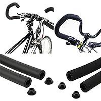 Calloy 自転車グリップ ハンドルグリップ 握りやすいスポンジ マウンテンバイク 超軽量 ソフトフォーム ブラック