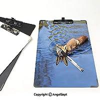 クリップボード A4サイズ対応 レンジップボード フォックス 作業用ペーパーホルダー (2パック)ブルーリバーナチュラルライフ哺乳類野生動物イメージプリントライトブルーブラウンクリームで泳ぐかわいいフォックス