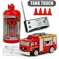 クリスマスギフト、リモートコントロールカーRC rescue fire engine truck red toy for kids by dacawin レッド Da-001815