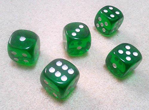ダイス/サイコロ 16mm ラウンドコーナー 半透明グリーン(緑) 5個セット