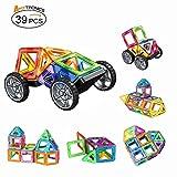 マグネットブロック 磁石ペース 立体パズル(39ピース)積み木 四角、三角、長四角、車輪 知育玩具 お祝いプレゼント子供おもちゃ 創造力と想像力を育てる