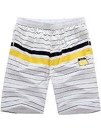 メンズ¡¯ sカラーブロックストライプビーチショーツウエストゴム夏Boardshorts