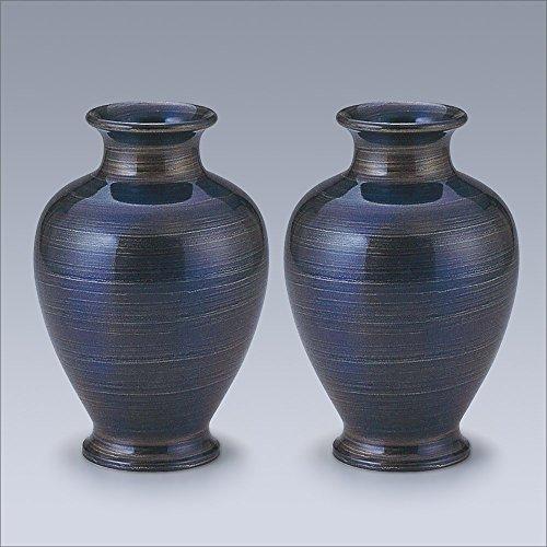[해외]키타 상점 브랜드 불단 용 꽃병 추석 용 꽃병 구리 스 미요시 나선 블루 색상 7 호 (쌍) (높이 21cm × 胴? 14.5cm)  추석 용품 · 불간 용 꽃병 初盆 (신분)에 예쁜 꽃을 공양하는 꽃병입니다 /Takita Shoten brand Buddhist vase for flower vases...