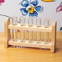 Bobominiworld Laboratory Test Tube Rack Set Dollhouse Miniatures Decoration 1:12 Scale Length 3.7cm Wood