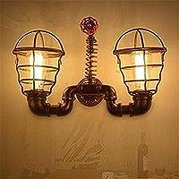 ランプ ウォールライト工業用ヴィンテージe27ダブルヘッド照明ロフトスタイルレトロベーキングペイントを行う古い鉄配水管壁ランプ取り付け用燭台用寝室用リビングルームレストラン装飾