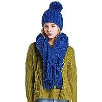 Women's Winter Warm Thicken Tassel Knit Hood Scarf Shawl Caps Hats Suit Set (Color : Dark Blue, Size : One Size)