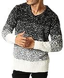 JIGGYS SHOP (ジギーズショップ) ニット セーター メンズ ニット Vネック ケーブル編み 厚手 長袖 防寒 L B グラデーション